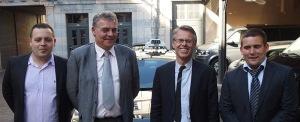 De gauche à droite, Anthony Bezard, FDT25, Didier Hogrel, président FNDT, Eric Alauzet, député du Doubs, Johannes Ussel, président FDT25